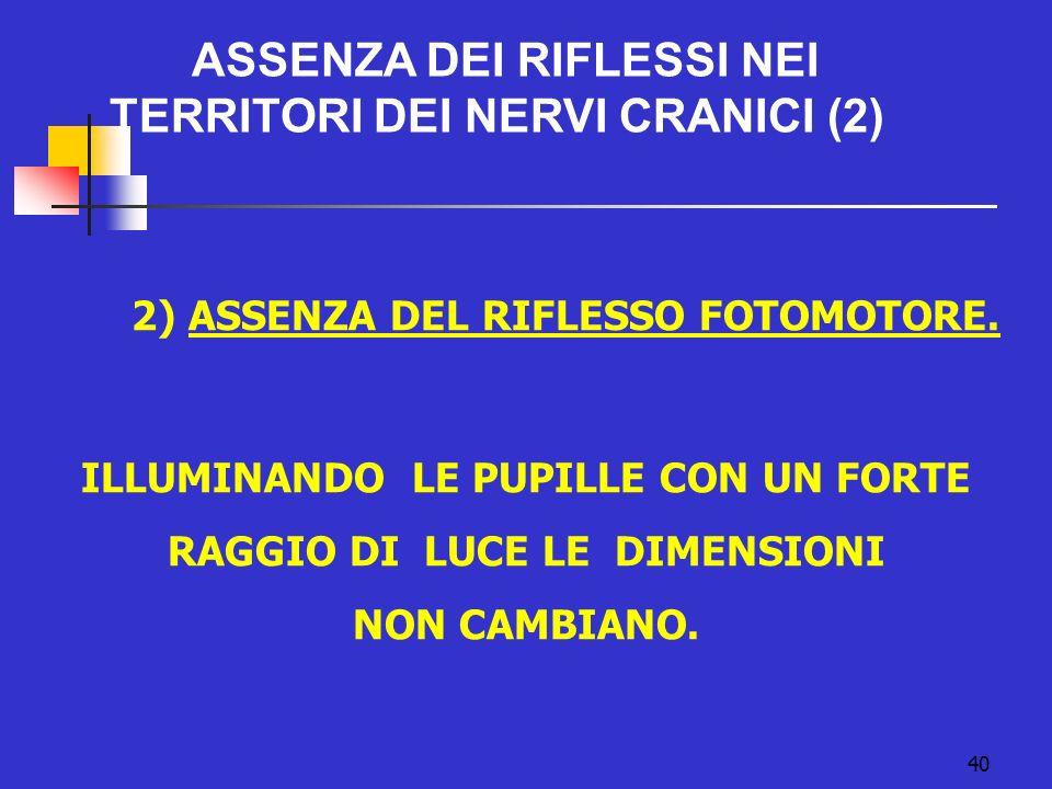 40 ASSENZA DEI RIFLESSI NEI TERRITORI DEI NERVI CRANICI (2) 2) ASSENZA DEL RIFLESSO FOTOMOTORE.