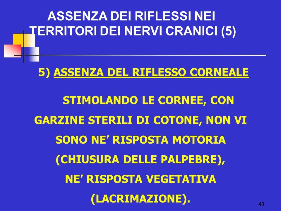 43 ASSENZA DEI RIFLESSI NEI TERRITORI DEI NERVI CRANICI (5) 5) ASSENZA DEL RIFLESSO CORNEALE STIMOLANDO LE CORNEE, CON GARZINE STERILI DI COTONE, NON VI SONO NE RISPOSTA MOTORIA (CHIUSURA DELLE PALPEBRE), NE RISPOSTA VEGETATIVA (LACRIMAZIONE).