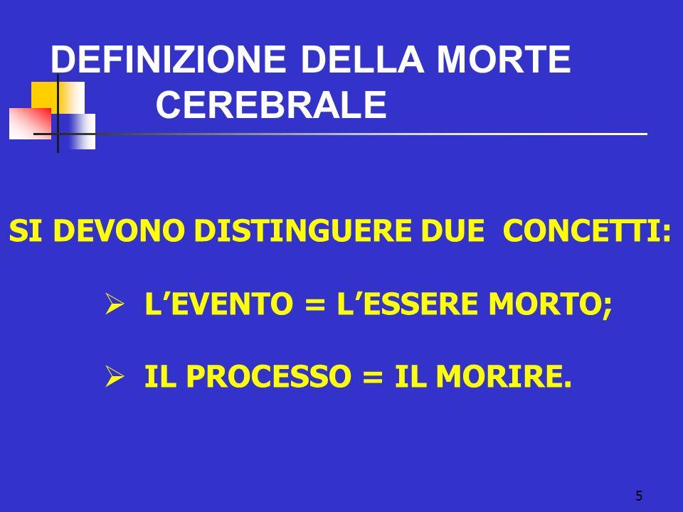 PROCEDURE STANDARD DI ACCERTAMENTO DELLA MORTE CEREBRALE, REGOLATE DALLA LEGGE N.