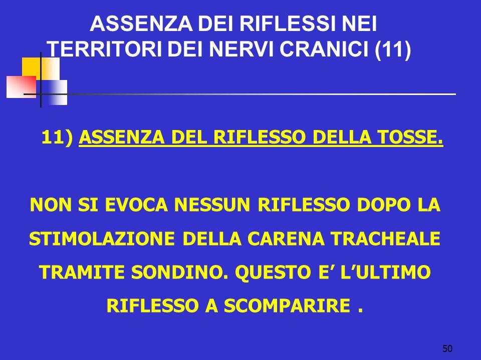 50 ASSENZA DEI RIFLESSI NEI TERRITORI DEI NERVI CRANICI (11) 11) ASSENZA DEL RIFLESSO DELLA TOSSE.