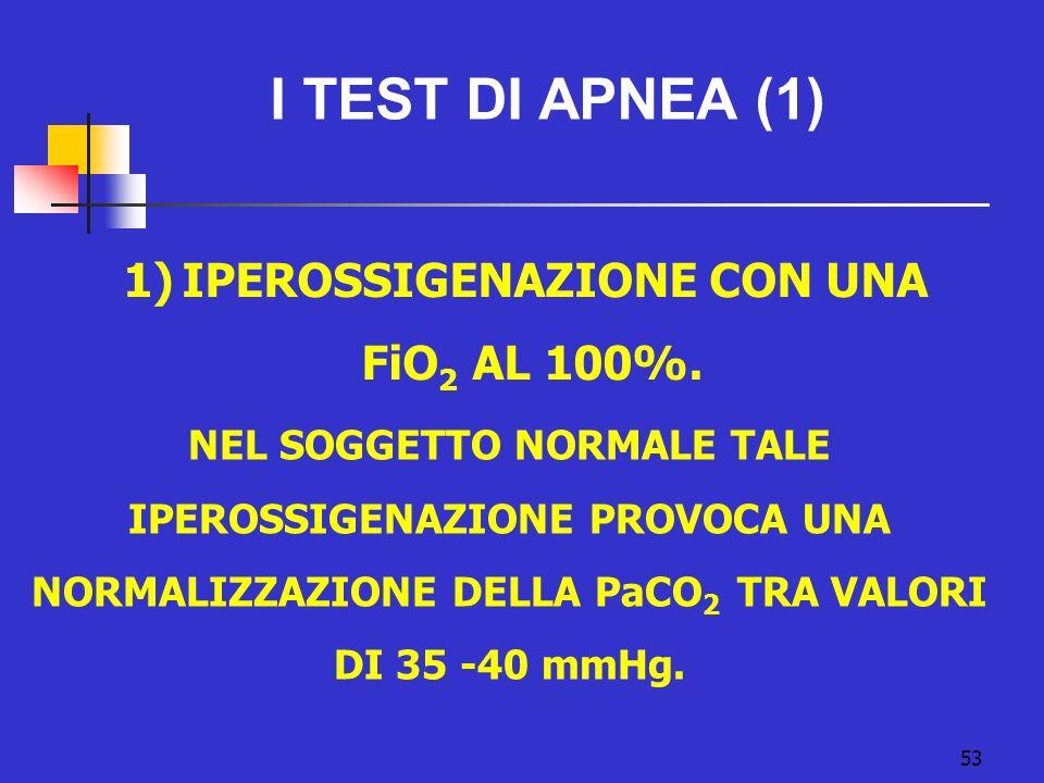 53 I TEST DI APNEA (1) 1)IPEROSSIGENAZIONE CON UNA FiO 2 AL 100%.