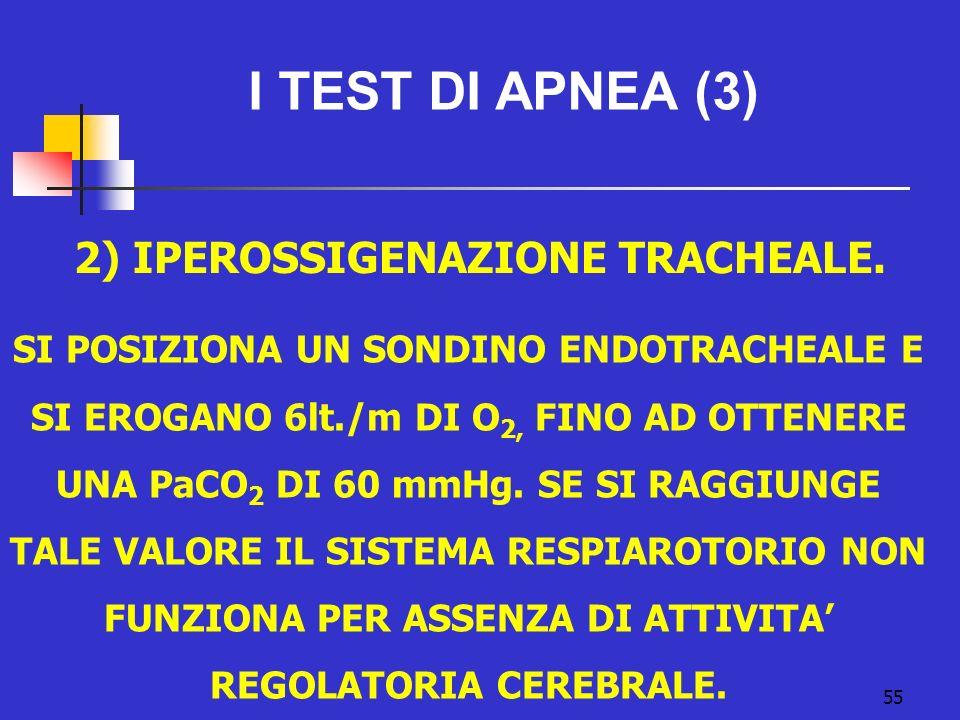 55 I TEST DI APNEA (3) 2) IPEROSSIGENAZIONE TRACHEALE.