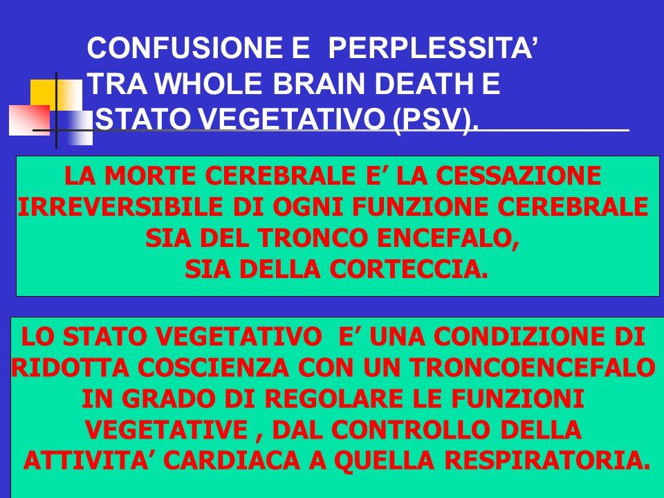 80 CONFUSIONE E PERPLESSITA TRA WHOLE BRAIN DEATH E STATO VEGETATIVO (PSV).