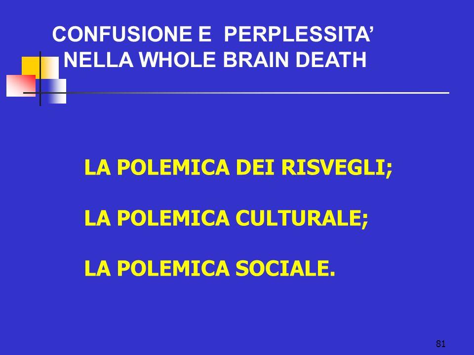 81 CONFUSIONE E PERPLESSITA NELLA WHOLE BRAIN DEATH LA POLEMICA DEI RISVEGLI; LA POLEMICA CULTURALE; LA POLEMICA SOCIALE.