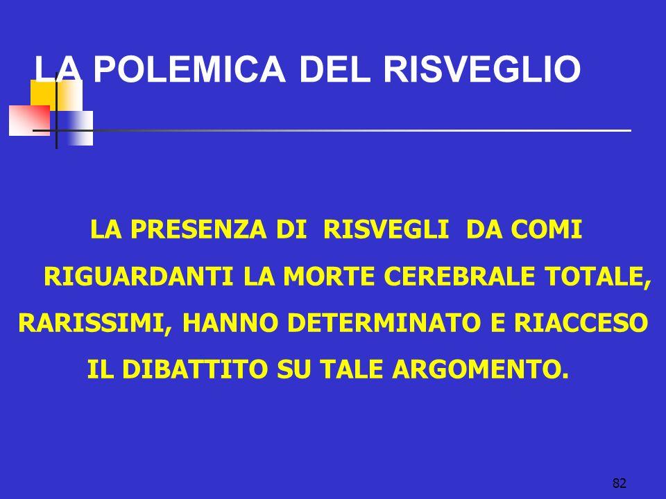 LA POLEMICA DEL RISVEGLIO 82 LA PRESENZA DI RISVEGLI DA COMI RIGUARDANTI LA MORTE CEREBRALE TOTALE, RARISSIMI, HANNO DETERMINATO E RIACCESO IL DIBATTITO SU TALE ARGOMENTO.