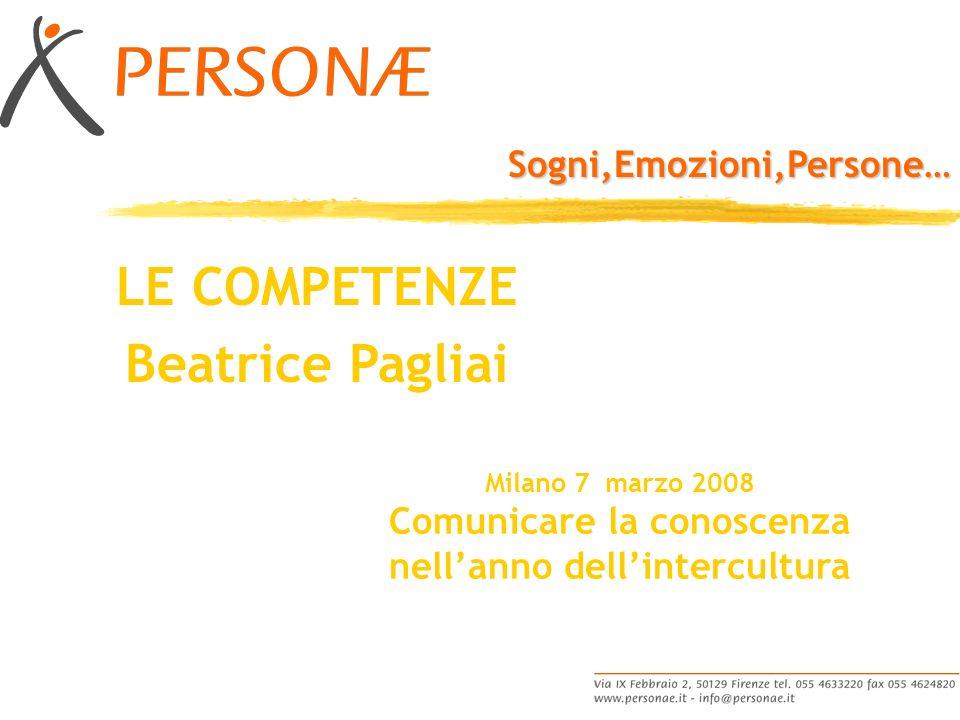 Sogni,Emozioni,Persone… Milano 7 marzo 2008 Comunicare la conoscenza nellanno dellintercultura LE COMPETENZE Beatrice Pagliai