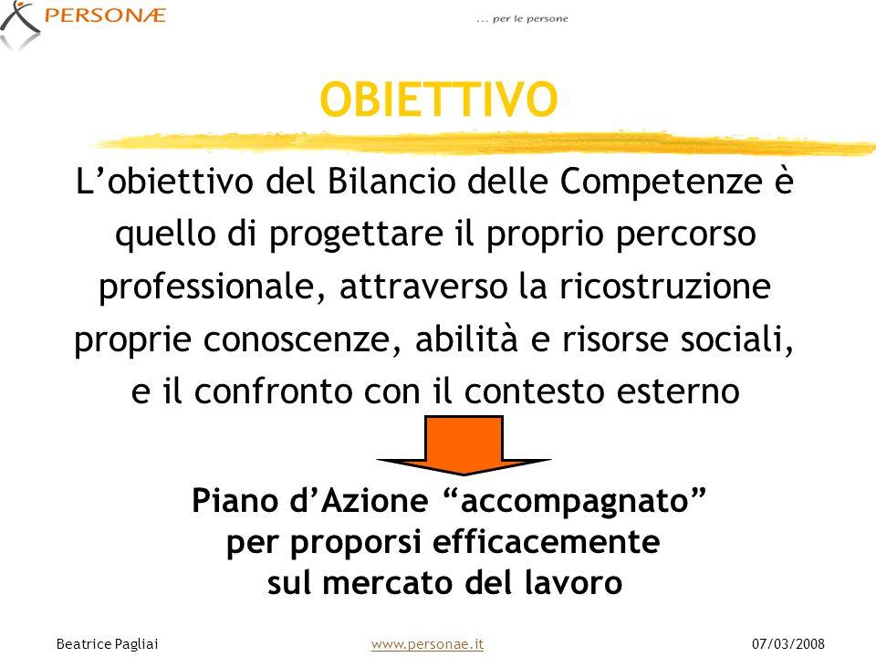 OBIETTIVO Lobiettivo del Bilancio delle Competenze è quello di progettare il proprio percorso professionale, attraverso la ricostruzione proprie conos