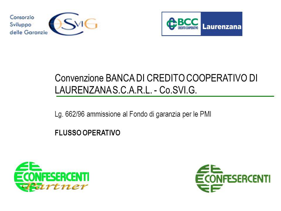 Convenzione BANCA DI CREDITO COOPERATIVO DI LAURENZANA S.C.A.R.L. - Co.SVI.G. Lg. 662/96 ammissione al Fondo di garanzia per le PMI FLUSSO OPERATIVO