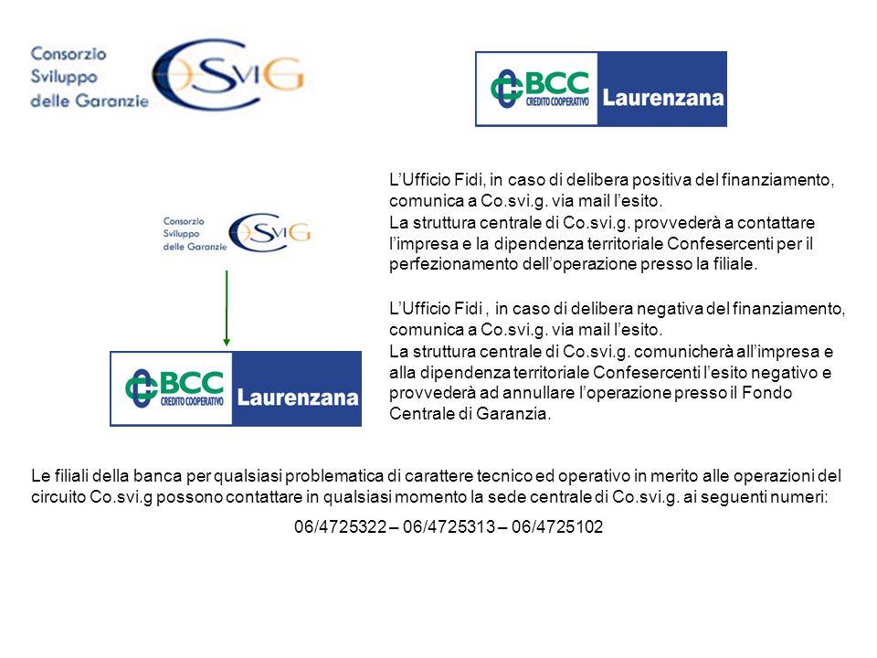 LUfficio Fidi, in caso di delibera positiva del finanziamento, comunica a Co.svi.g. via mail lesito. La struttura centrale di Co.svi.g. provvederà a c