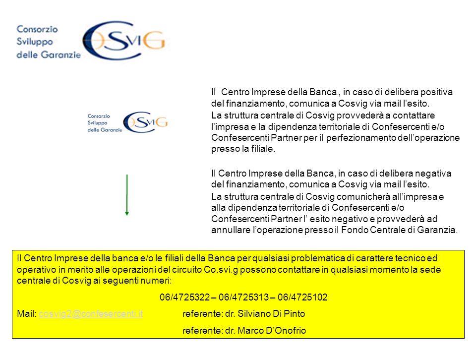 Il Centro Imprese della Banca, in caso di delibera positiva del finanziamento, comunica a Cosvig via mail lesito. La struttura centrale di Cosvig prov