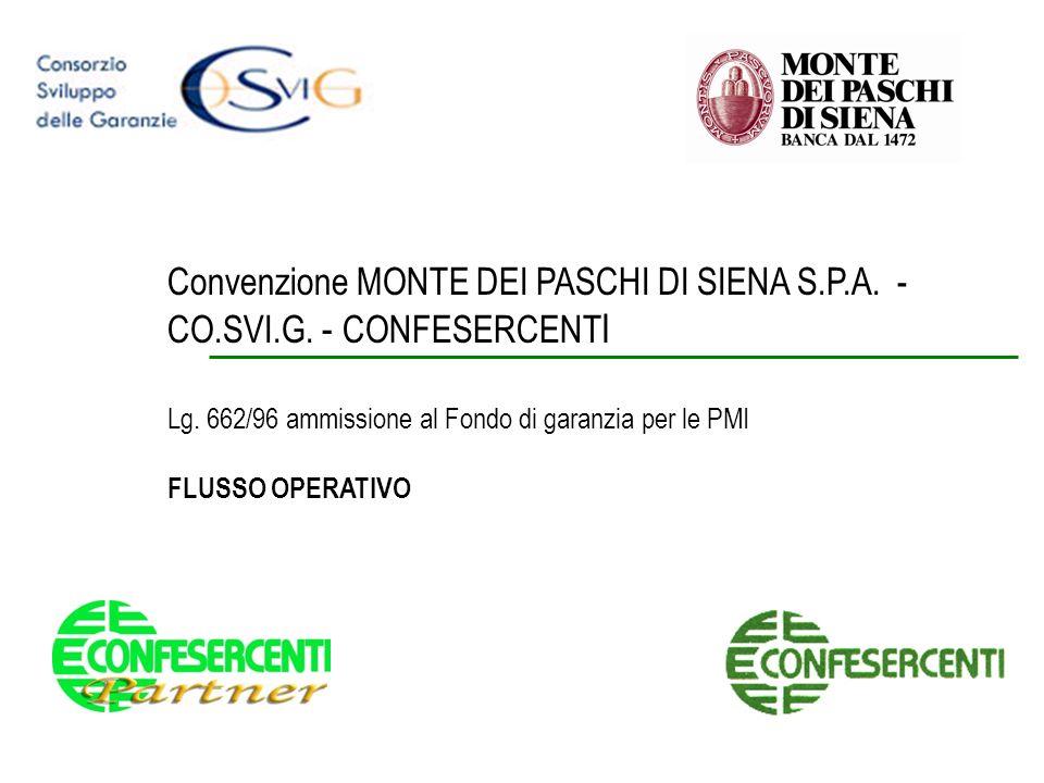 Convenzione MONTE DEI PASCHI DI SIENA S.P.A. - CO.SVI.G. - CONFESERCENT I Lg. 662/96 ammissione al Fondo di garanzia per le PMI FLUSSO OPERATIVO