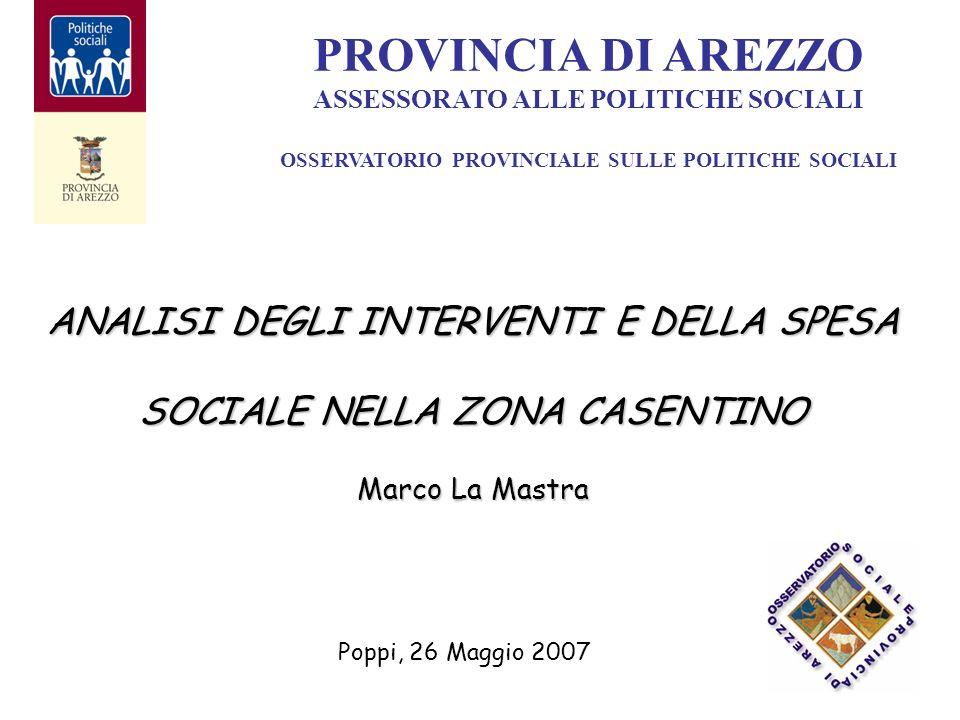 ANALISI DEGLI INTERVENTI E DELLA SPESA SOCIALE NELLA ZONA CASENTINO Marco La Mastra PROVINCIA DI AREZZO ASSESSORATO ALLE POLITICHE SOCIALI OSSERVATORIO PROVINCIALE SULLE POLITICHE SOCIALI Poppi, 26 Maggio 2007