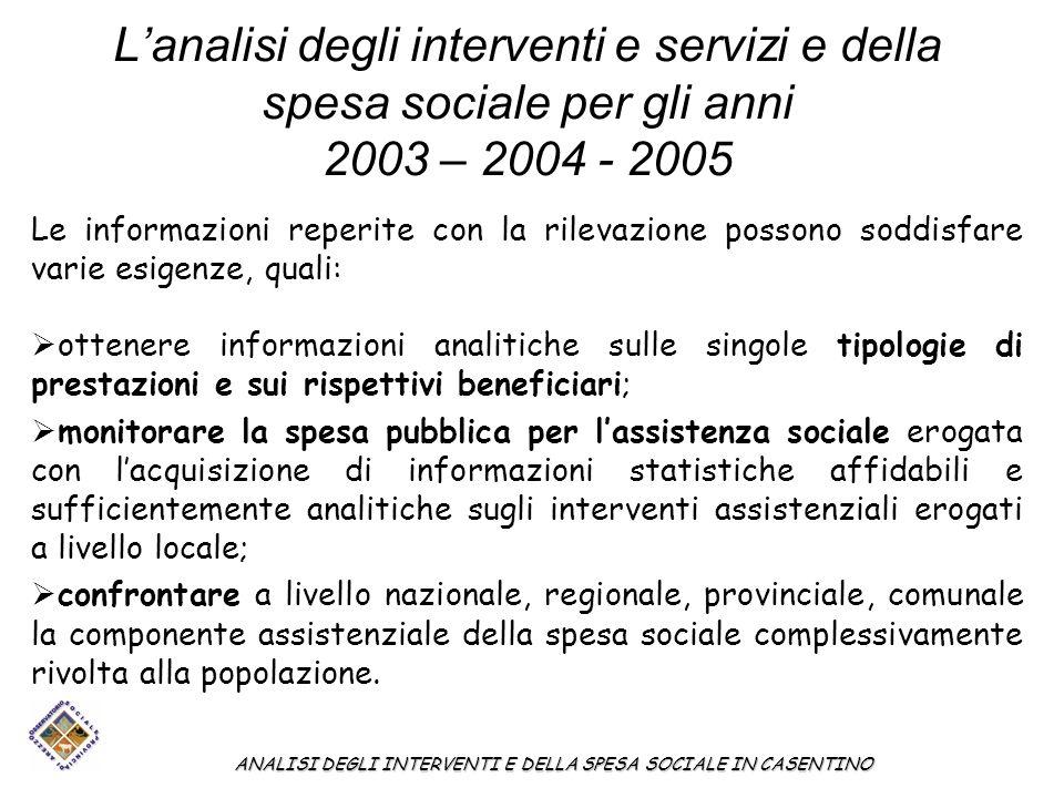 Lanalisi degli interventi e servizi e della spesa sociale per gli anni 2003 – 2004 - 2005 Le informazioni reperite con la rilevazione possono soddisfa