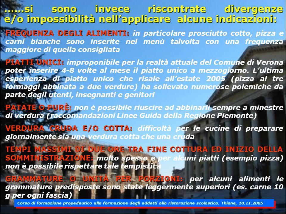 Nel servizio globale di Ristorazione Scolastica presso il Comune di Verona sono state utilizzate ed applicate come riferimenti le Linee Guida Regional