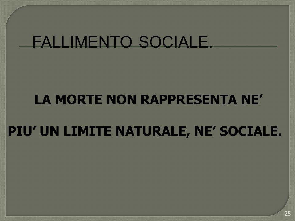 25 FALLIMENTO SOCIALE. LA MORTE NON RAPPRESENTA NE PIU UN LIMITE NATURALE, NE SOCIALE.