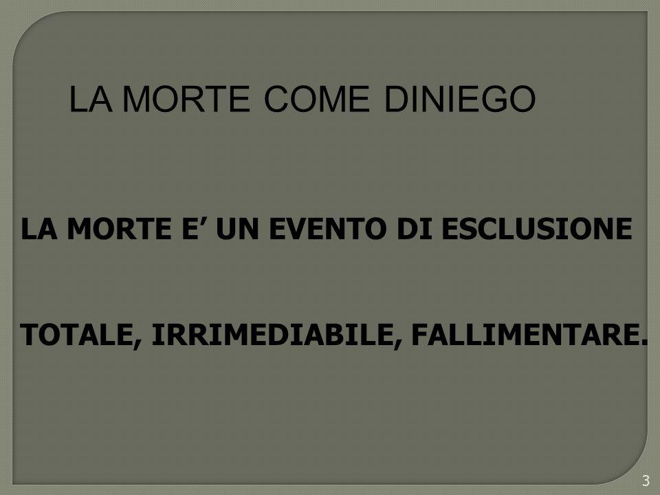 LA MORTE E UN EVENTO DI ESCLUSIONE TOTALE, IRRIMEDIABILE, FALLIMENTARE. 3