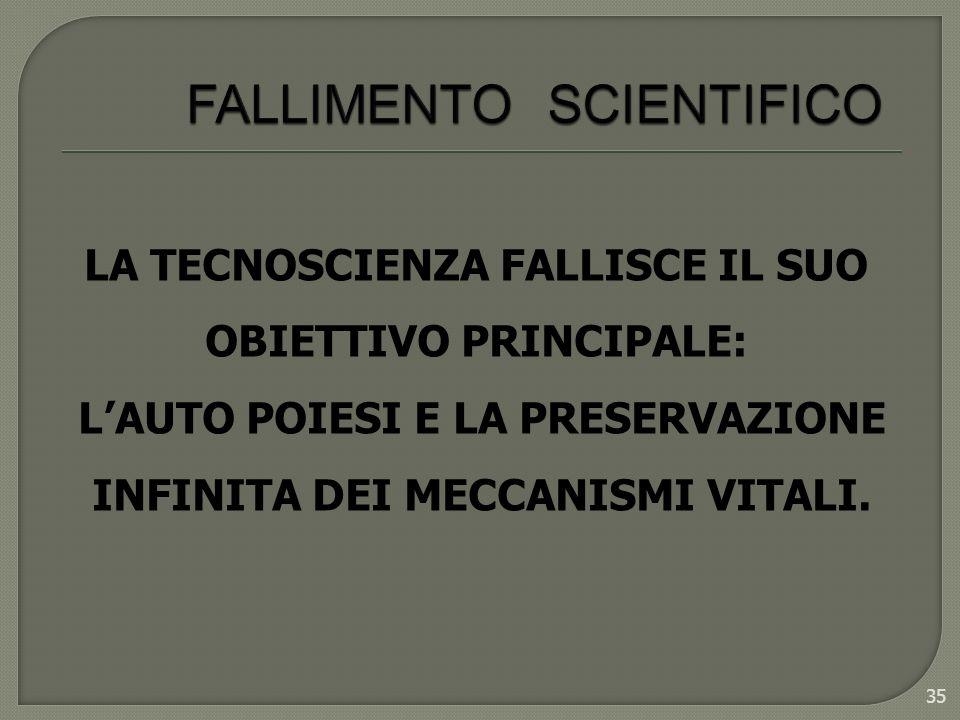 35 LA TECNOSCIENZA FALLISCE IL SUO OBIETTIVO PRINCIPALE: LAUTO POIESI E LA PRESERVAZIONE INFINITA DEI MECCANISMI VITALI.