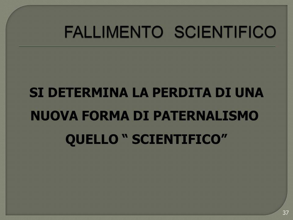 37 SI DETERMINA LA PERDITA DI UNA NUOVA FORMA DI PATERNALISMO QUELLO SCIENTIFICO