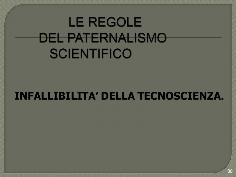 38 INFALLIBILITA DELLA TECNOSCIENZA.