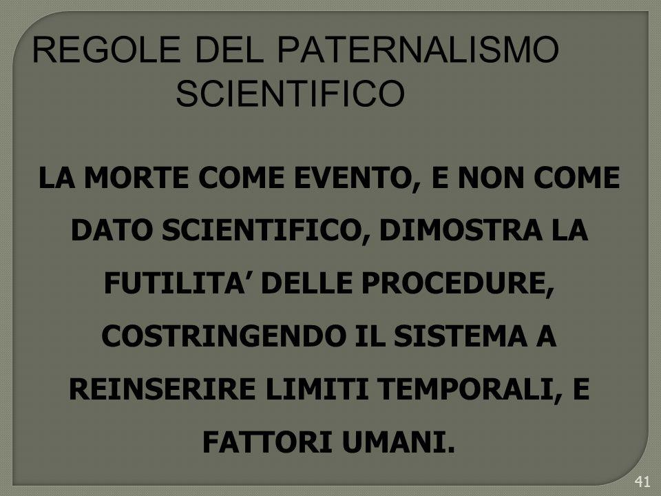 42 REGOLE DEL PATERNALISMO SCIENTIFICO LA FUTILITA DELLINSUCCESSO SCIENTIFICO SI TRASFORMA IN DRAMMA UMANO.