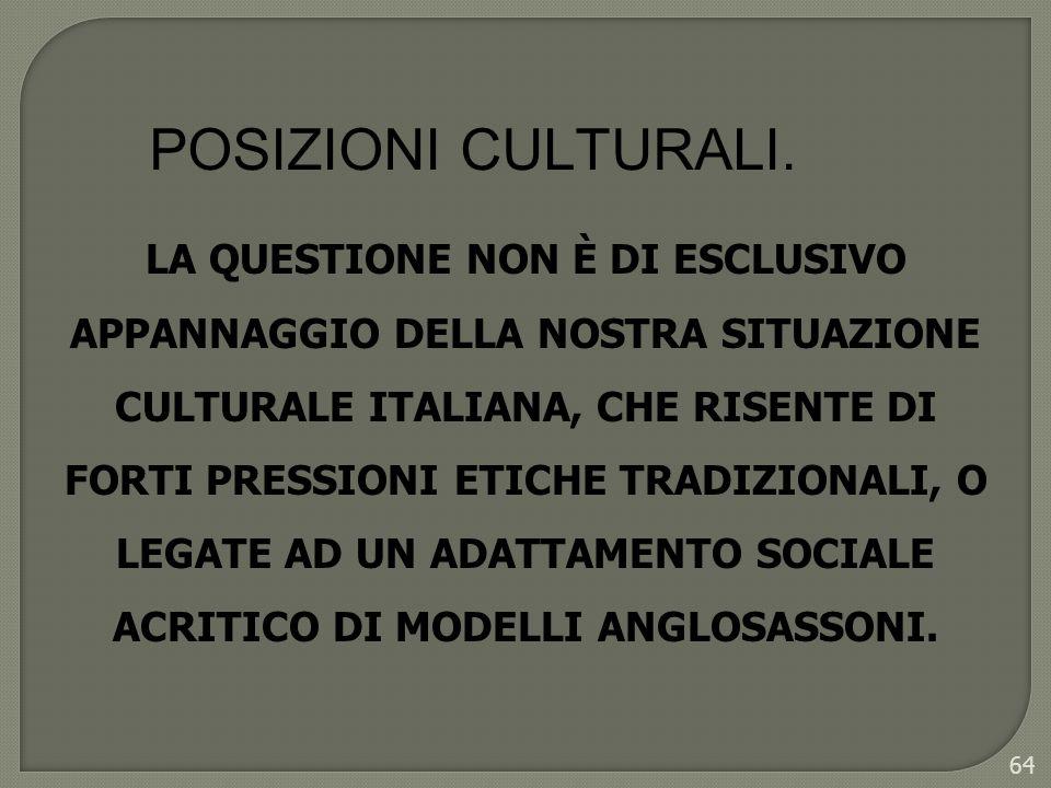 64 LA QUESTIONE NON È DI ESCLUSIVO APPANNAGGIO DELLA NOSTRA SITUAZIONE CULTURALE ITALIANA, CHE RISENTE DI FORTI PRESSIONI ETICHE TRADIZIONALI, O LEGAT