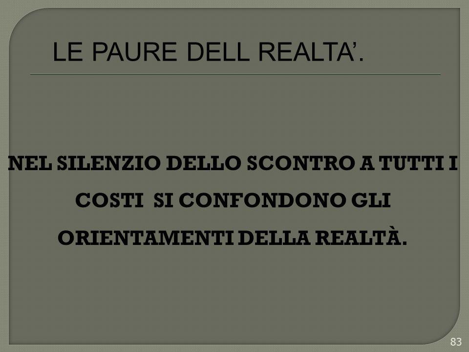 NEL SILENZIO DELLO SCONTRO A TUTTI I COSTI SI CONFONDONO GLI ORIENTAMENTI DELLA REALTÀ. 83 LE PAURE DELL REALTA.