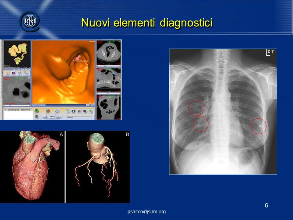 psacco@sirm.org 6 @ @ Nuovi elementi diagnostici