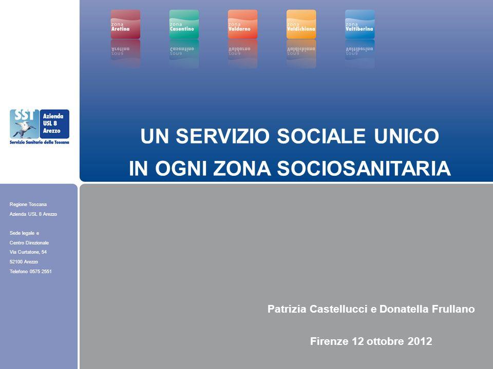 Regione Toscana Azienda USL 8 Arezzo Sede legale e Centro Direzionale Via Curtatone, 54 52100 Arezzo Telefono 0575 2551 UN SERVIZIO SOCIALE UNICO IN O