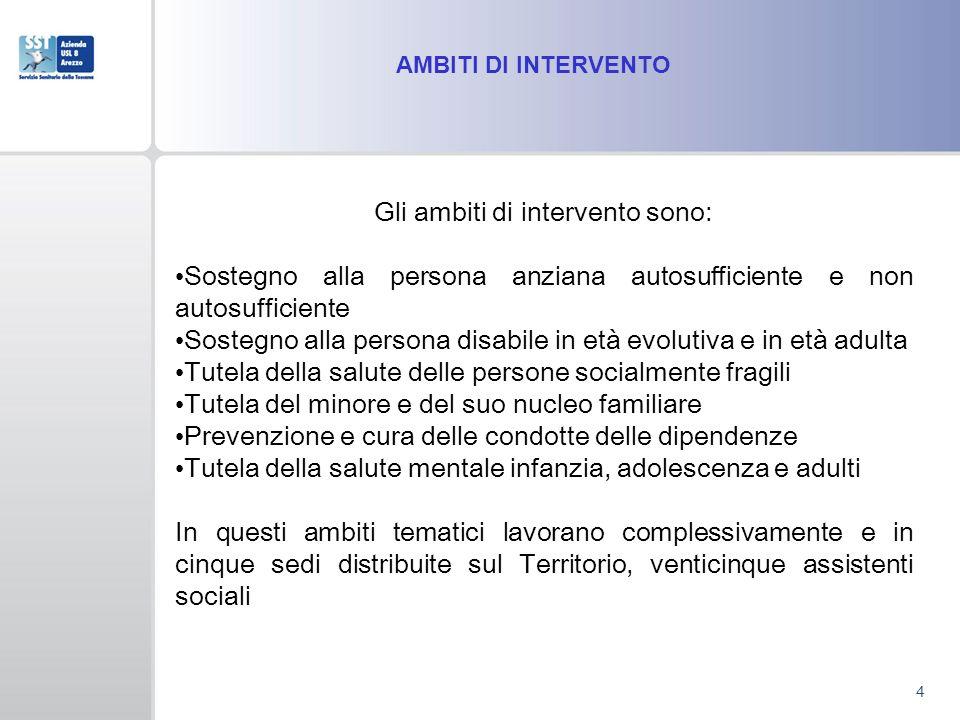 AMBITI DI INTERVENTO 4 Gli ambiti di intervento sono: Sostegno alla persona anziana autosufficiente e non autosufficiente Sostegno alla persona disabi