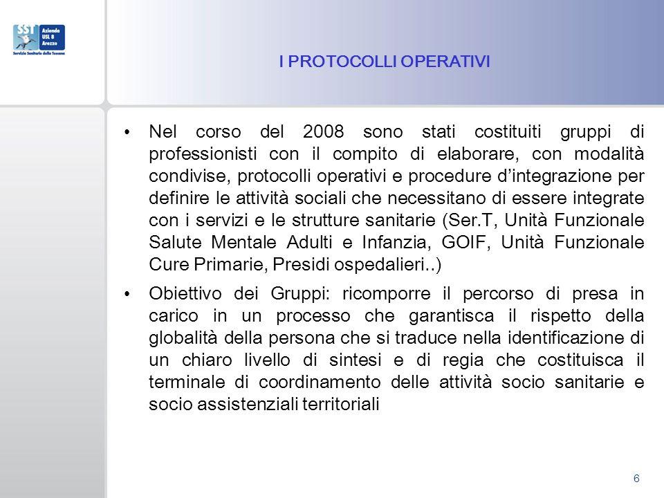I PROTOCOLLI OPERATIVI Nel corso del 2008 sono stati costituiti gruppi di professionisti con il compito di elaborare, con modalità condivise, protocol