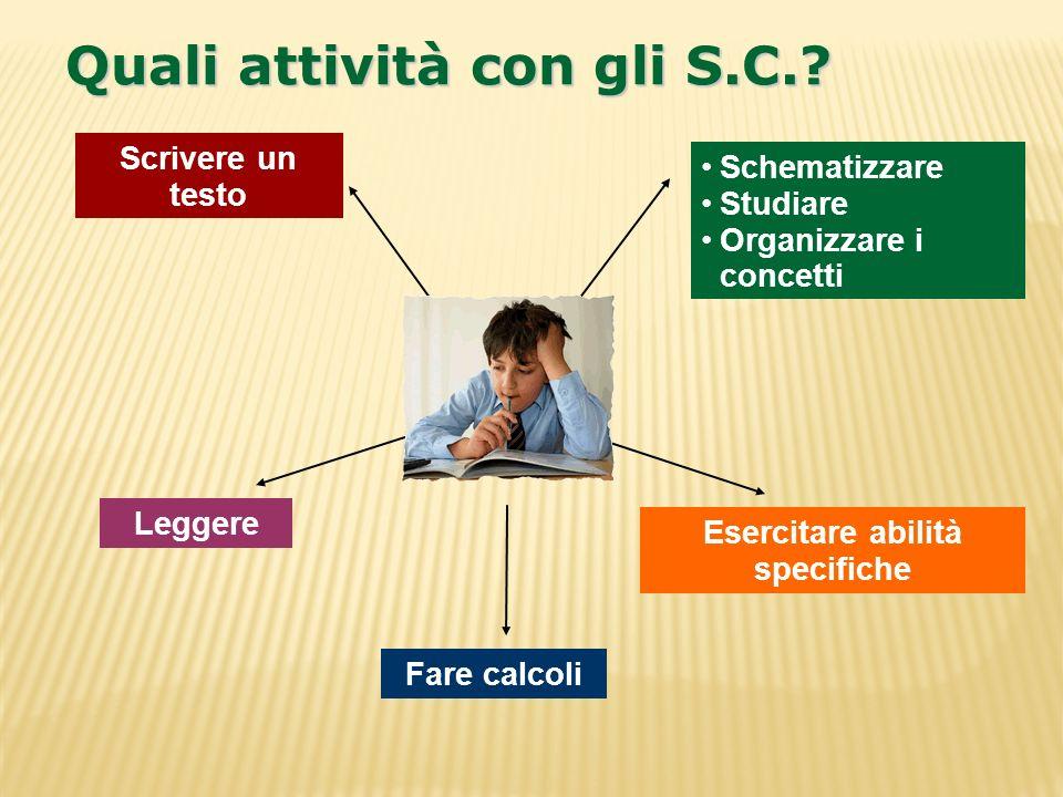 Scrivere un testo Leggere Fare calcoli Esercitare abilità specifiche Schematizzare Studiare Organizzare i concettiOrganizzare i concetti Quali attivit