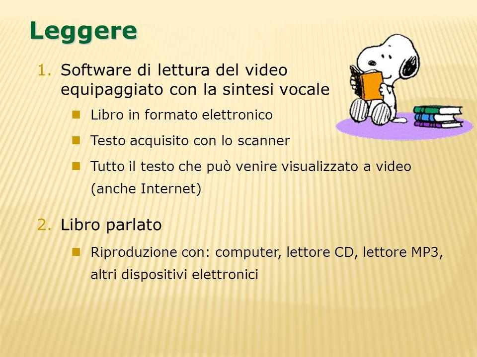 1.Software di lettura del video equipaggiato con la sintesi vocale Libro in formato elettronico Testo acquisito con lo scanner Tutto il testo che può