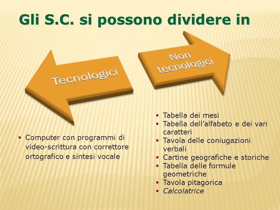 Gli S.C. si possono dividere in Tabella dei mesi Tabella dellalfabeto e dei vari caratteri Tavola delle coniugazioni verbali Cartine geografiche e sto