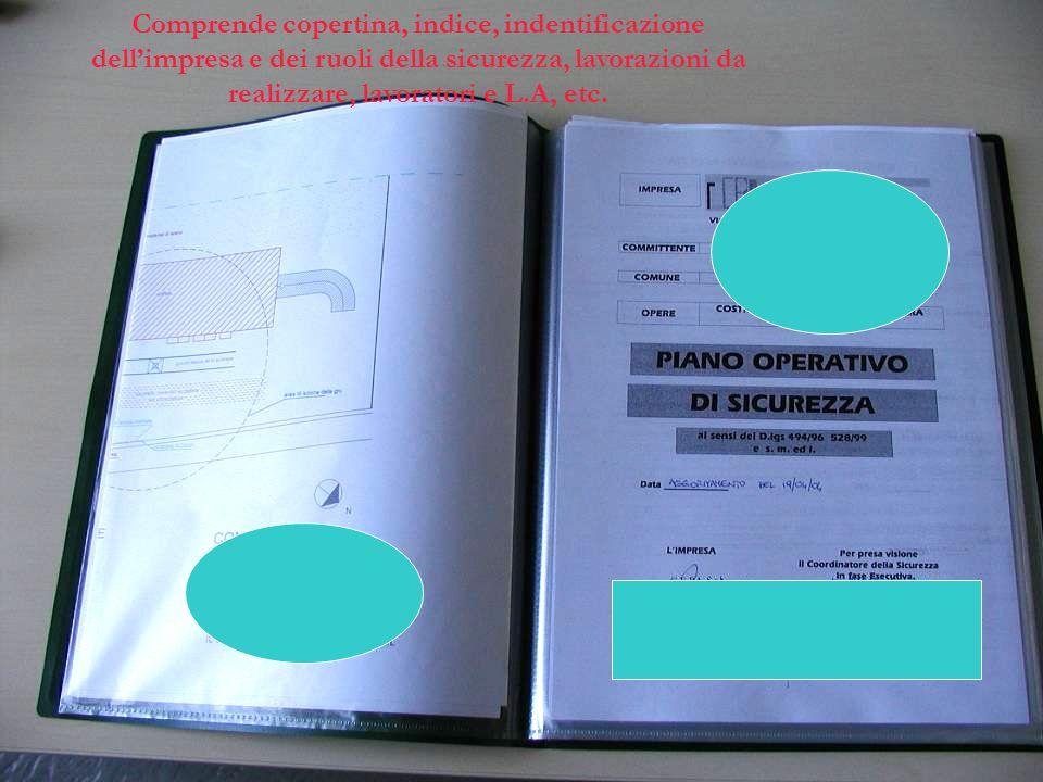 Comprende copertina, indice, indentificazione dellimpresa e dei ruoli della sicurezza, lavorazioni da realizzare, lavoratori e L.A, etc.