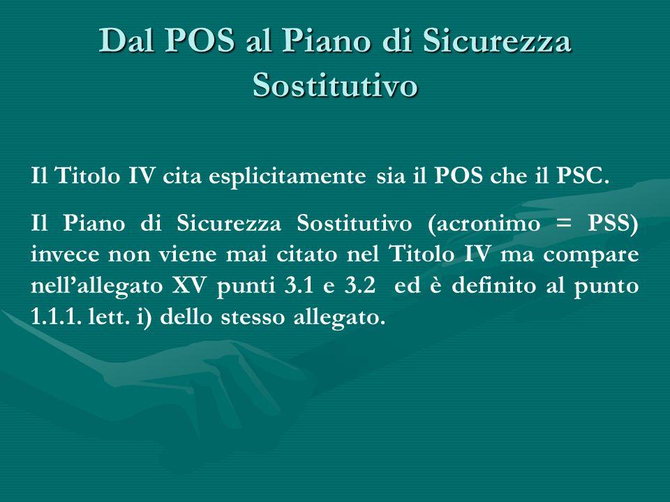 Definizione del PSS Il PSS è il piano di sicurezza sostitutivo del piano di sicurezza e di coordinamento, di cui all articolo 131, comma 2, lettera b) del D.Lgs.