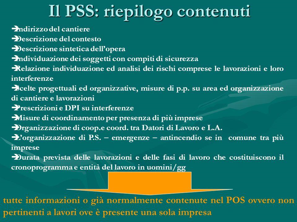 PSS e vigilanza Il PSS in quanto tale non è oggetto di attenzione da parte dellorgano di vigilanza in materia di giene e sicurezza del lavoro al contrario di quanto avviene per POS e PSC.