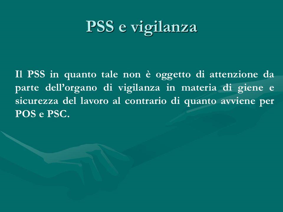 PSS e vigilanza Il PSS in quanto tale non è oggetto di attenzione da parte dellorgano di vigilanza in materia di giene e sicurezza del lavoro al contr