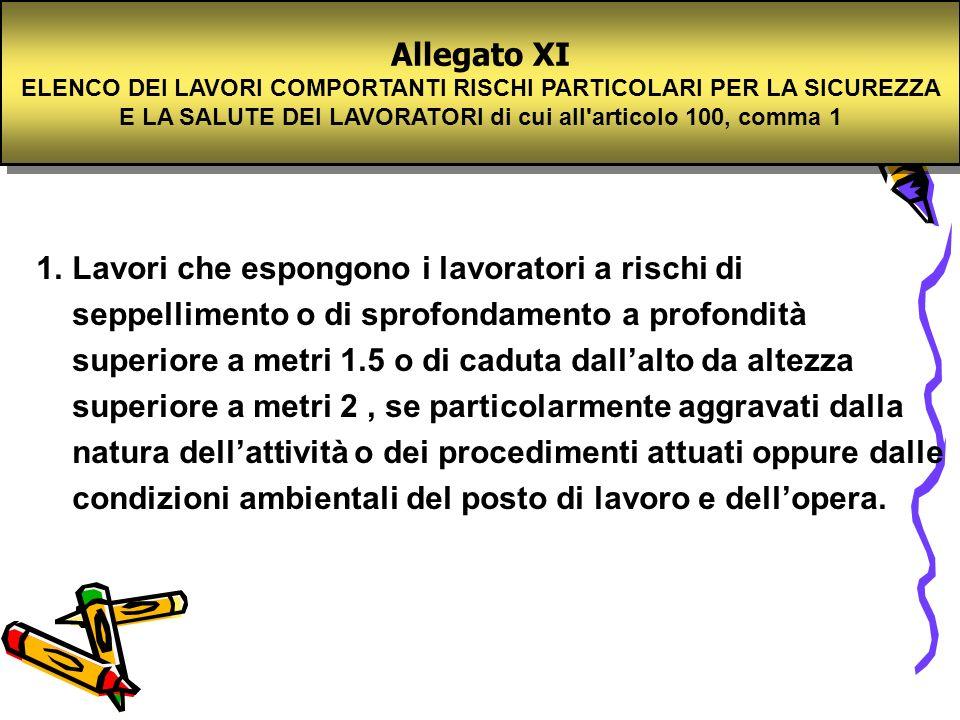 Allegato XI ELENCO DEI LAVORI COMPORTANTI RISCHI PARTICOLARI PER LA SICUREZZA E LA SALUTE DEI LAVORATORI di cui all'articolo 100, comma 1 Allegato XI