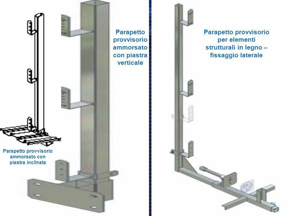 18 Parapetto provvisorio ammorsato con piastra verticale Parapetto provvisorio per elementi strutturali in legno – fissaggio laterale Parapetto provvi