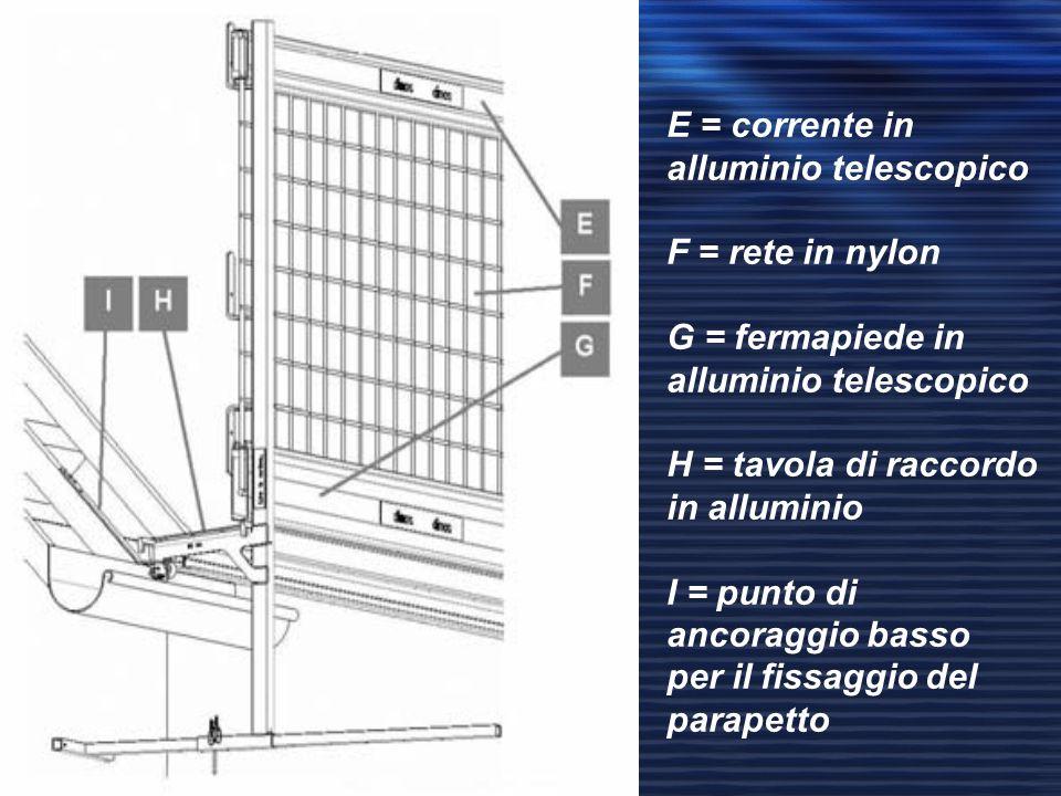E = corrente in alluminio telescopico F = rete in nylon G = fermapiede in alluminio telescopico H = tavola di raccordo in alluminio I = punto di ancor