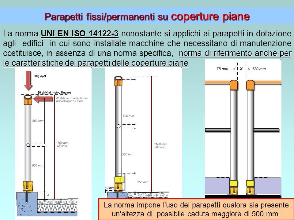 4 Parapetti fissi/permanenti su coperture piane UNI EN ISO 14122-3 norma di riferimento anche per le caratteristiche dei parapetti delle coperture pia
