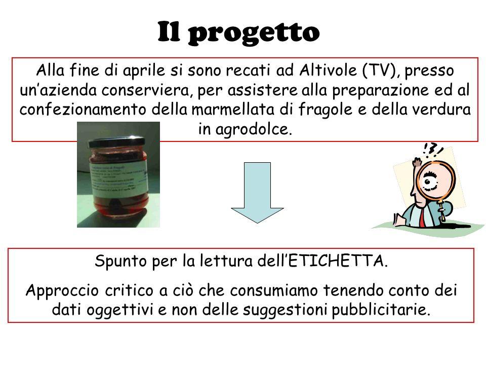 Il progetto Alla fine di aprile si sono recati ad Altivole (TV), presso unazienda conserviera, per assistere alla preparazione ed al confezionamento della marmellata di fragole e della verdura in agrodolce.