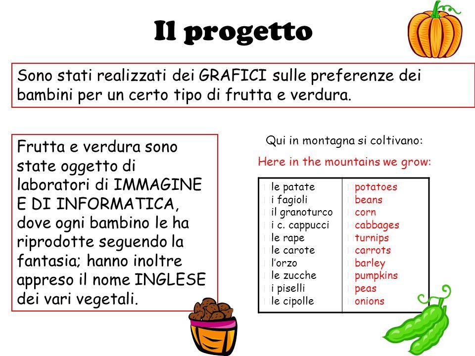 Il progetto Sono stati realizzati dei GRAFICI sulle preferenze dei bambini per un certo tipo di frutta e verdura. Frutta e verdura sono state oggetto