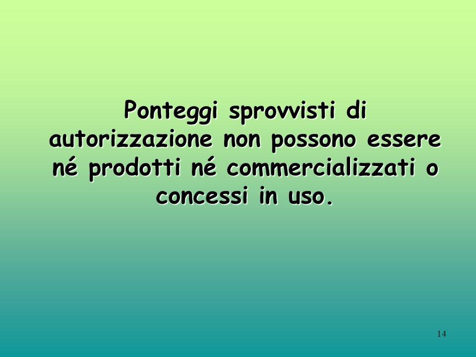 14 Ponteggi sprovvisti di autorizzazione non possono essere né prodotti né commercializzati o concessi in uso.