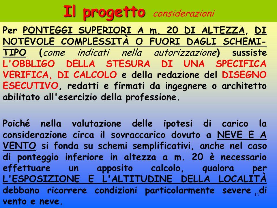 17 Il progetto Il progetto considerazioni Per PONTEGGI SUPERIORI A m.