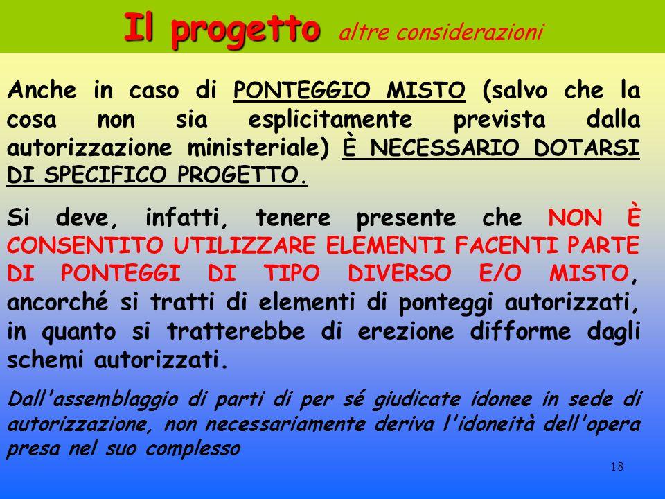 18 Anche in caso di PONTEGGIO MISTO (salvo che la cosa non sia esplicitamente prevista dalla autorizzazione ministeriale) È NECESSARIO DOTARSI DI SPECIFICO PROGETTO.