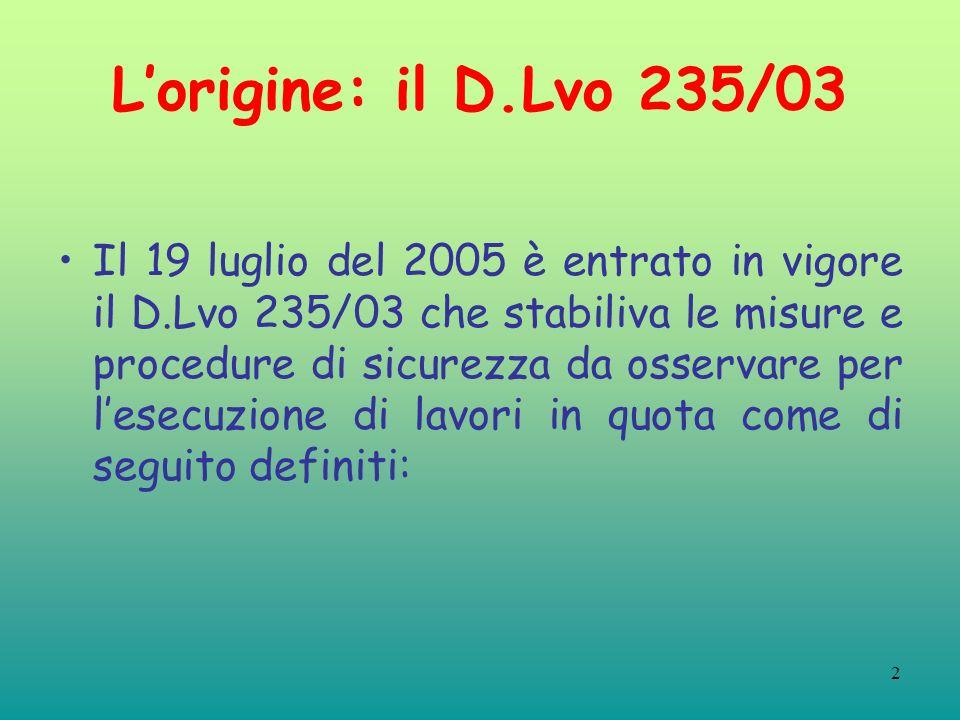 2 Lorigine: il D.Lvo 235/03 Il 19 luglio del 2005 è entrato in vigore il D.Lvo 235/03 che stabiliva le misure e procedure di sicurezza da osservare per lesecuzione di lavori in quota come di seguito definiti: