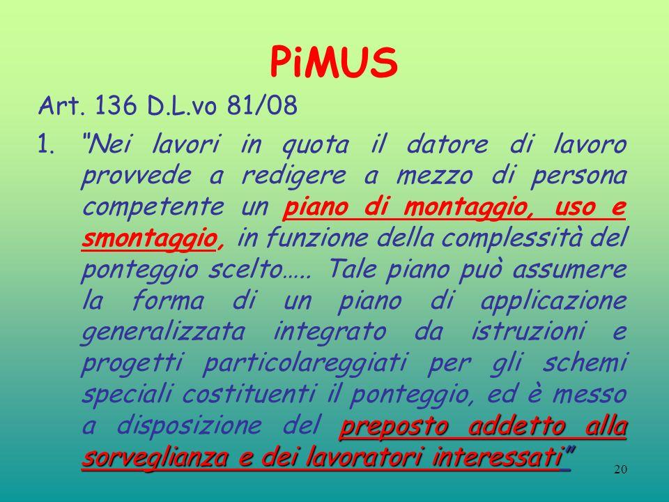 20 PiMUS Art. 136 D.L.vo 81/08 preposto addetto alla sorveglianza e dei lavoratori interessati 1. Nei lavori in quota il datore di lavoro provvede a r