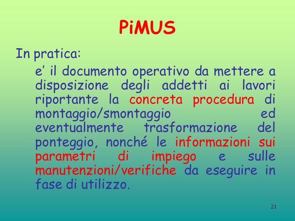 21 PiMUS In pratica: e il documento operativo da mettere a disposizione degli addetti ai lavori riportante la concreta procedura di montaggio/smontagg
