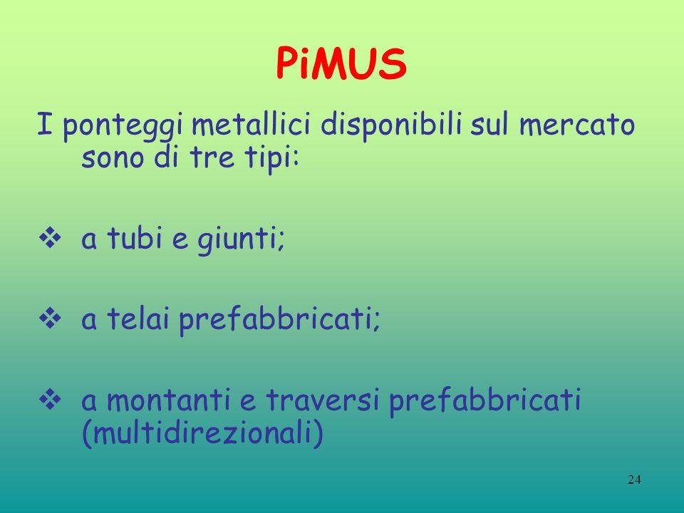 24 PiMUS I ponteggi metallici disponibili sul mercato sono di tre tipi: a tubi e giunti; a telai prefabbricati; a montanti e traversi prefabbricati (multidirezionali)